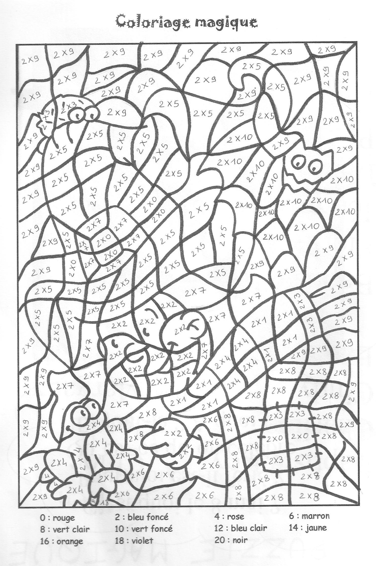 Coloriage Magique Tables De Multiplication 2 3 4 5