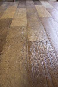 Porcelain tile floor that looks like wood. Pretty cool ...