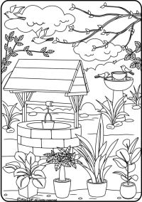 Wishing Well Coloring Sheet | Coloring Page