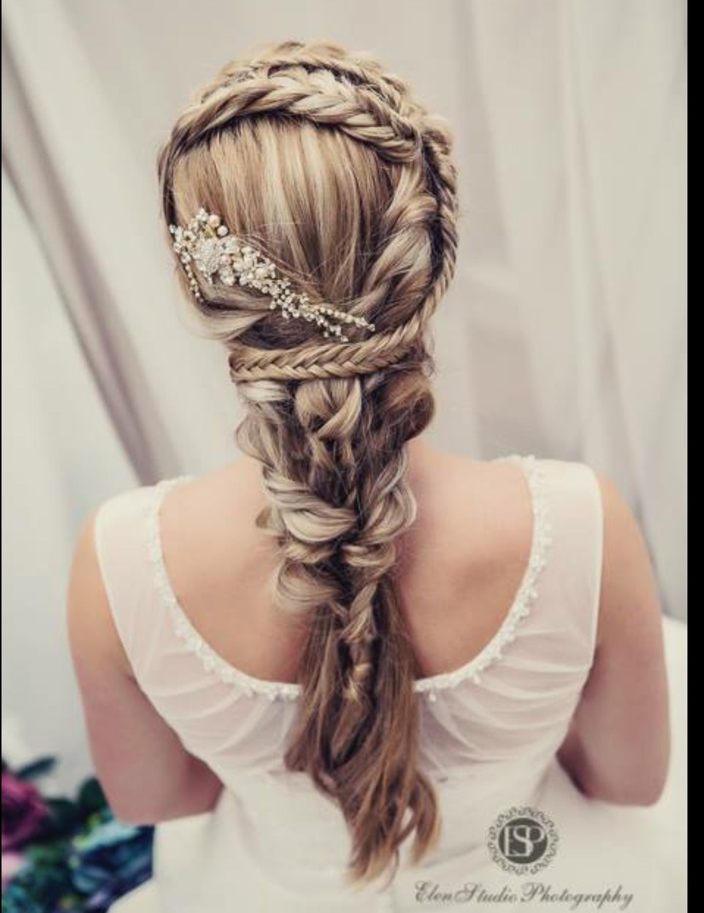 Romantic braided design bridal braids updo wedding