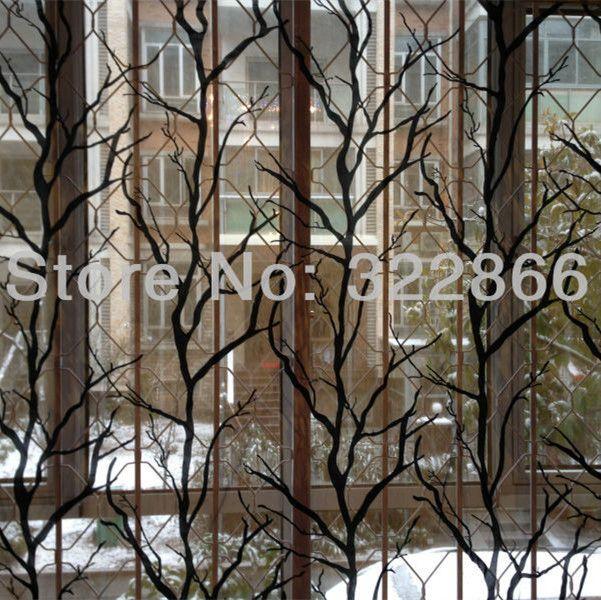 Elegant Free Shipping Tree Branch Design Finished Tulle Curtain Flocking
