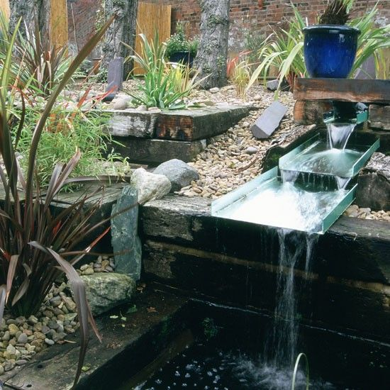 Unusual Garden Water Feature Use Railway Sleepers To Create An Eye