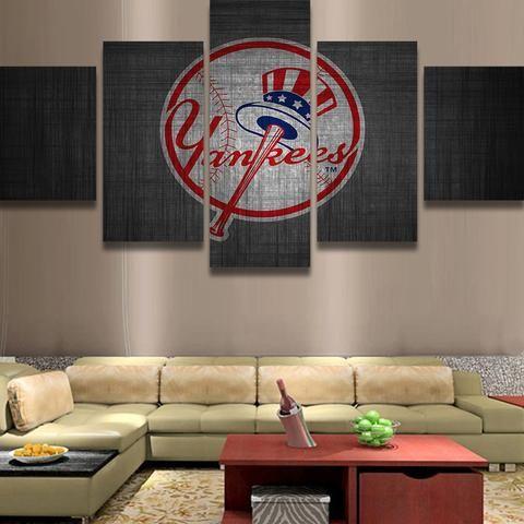 New york yankees mlb baseball panel canvas wall art home decor also rh pinterest