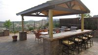 pavers, bar stools, pergola roof, Outdoor Kitchen/Bar ...