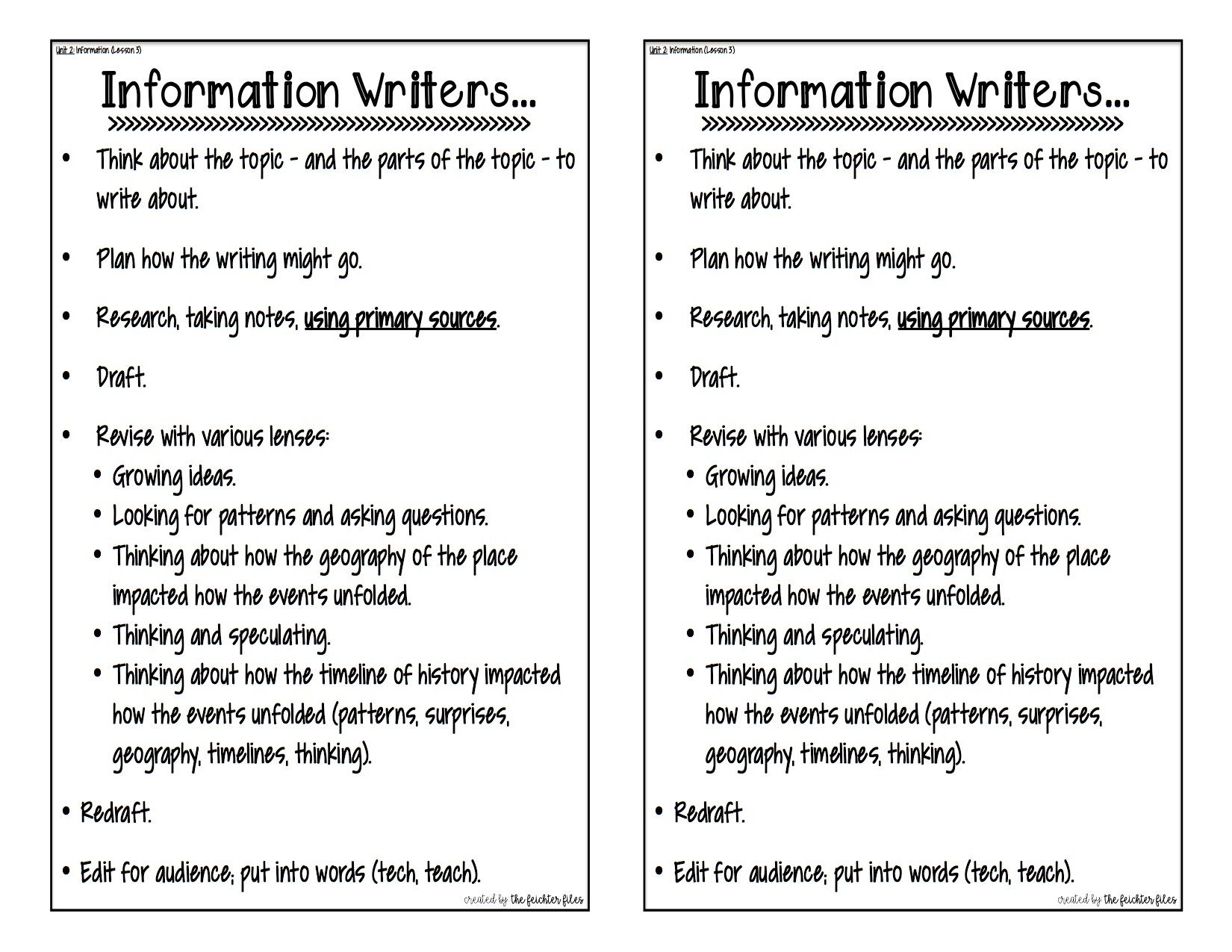 Lucy Calkins Writing Anchor Charts 5th Grade