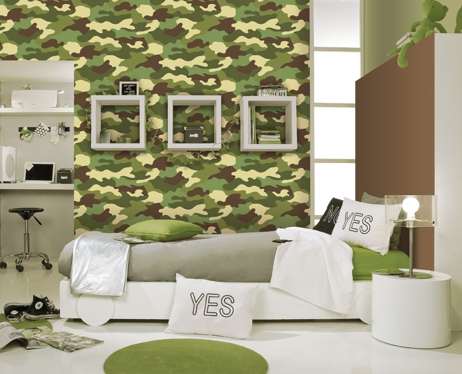 Amazing Camouflage Bedroom Interior Decoration For Boys
