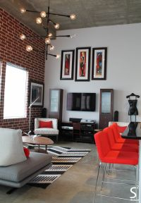 Loft modern eliving room exposed brick wall black white