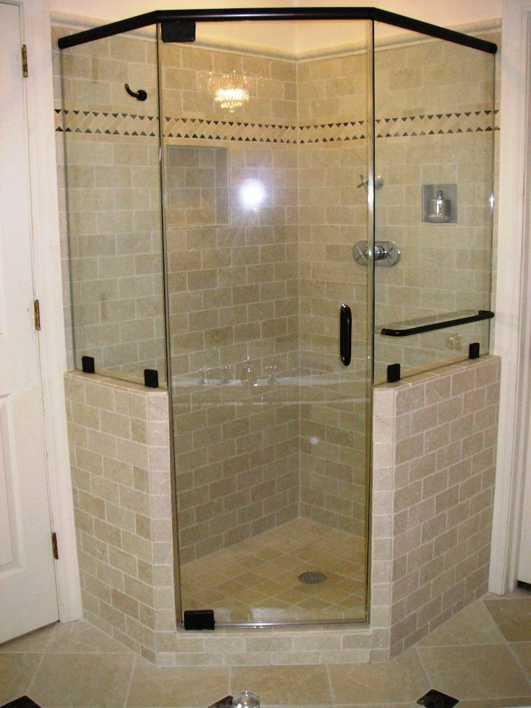 Bathroom  Shower Stall Design Idea With Glass Door And