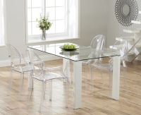 Lavina 150cm Glass and White High Gloss Dining Table with ...