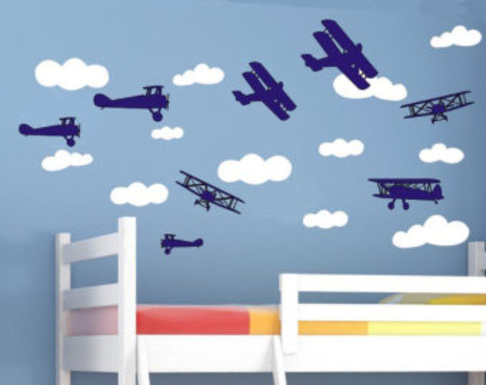 Giant airplanes removable vinyl wall art styles to choose from kids childrens room planes biplanes flying pilot biplane airplane also rh pinterest