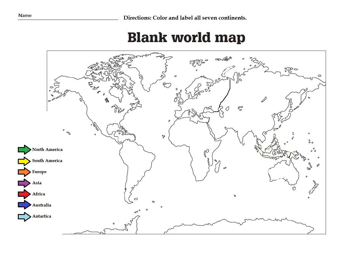 Label The The Continents And Color Them Great Worksheet