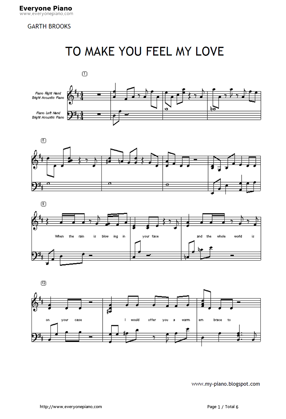 To Make You Feel My Love-Garth Brooks Stave Preview 1 | Music | Pinterest | Garth brooks. Pianos and Sheet music