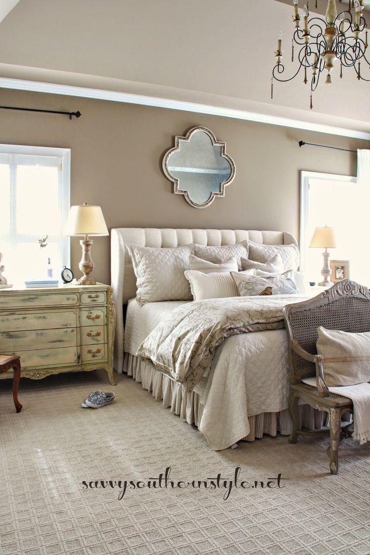 neutral master bedroom, french style, restoration hardware bedding