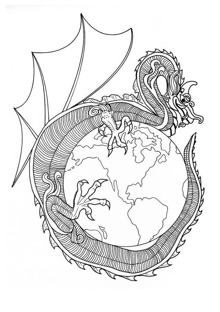 Beautiful Dragon of World mandala for kids of all ages