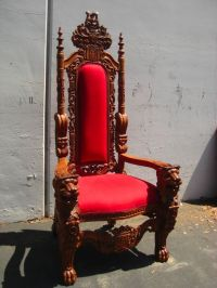 HAND CARVED ANTIQUE MAHOGANY KING'S THRONE/CHAIR***GAME OF ...