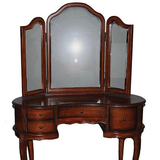 Antique Vanity Dresser Tri fold Mirror with Bench