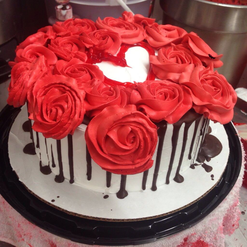 Red Velvet Cake Decorated W Roses Choc Amp Of Course A