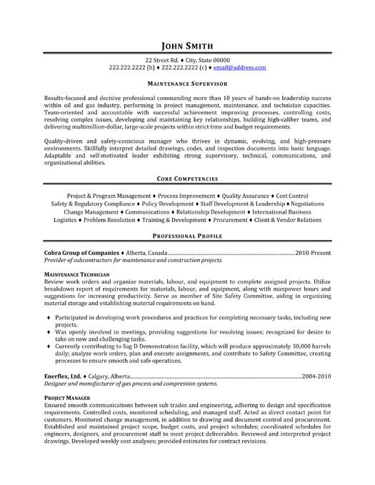 Click Here To Download This Maintenance Supervisor Resume Template