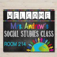 Social Studies Teacher Classroom Door Sign, History ...