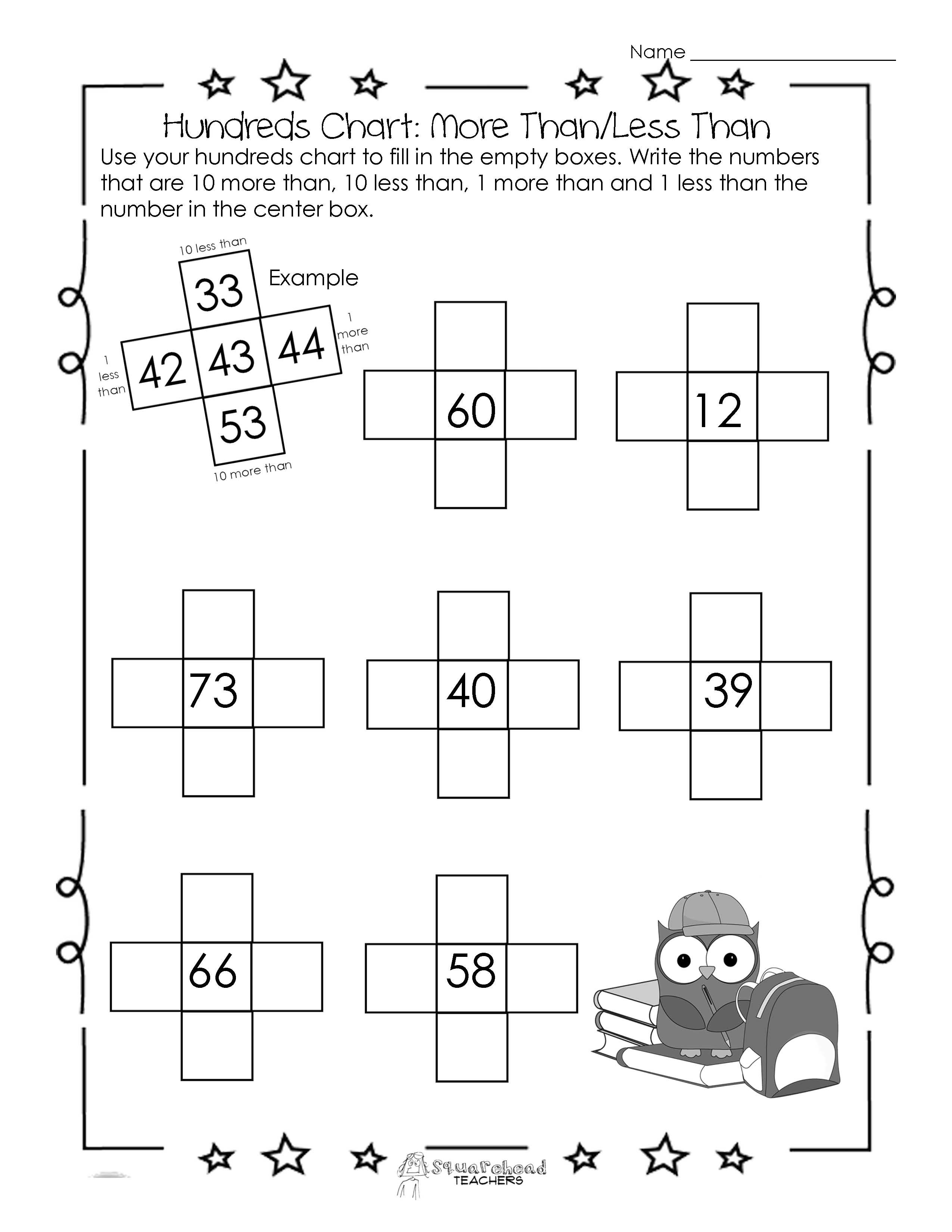 Squarehead Teachers Hundreds Chart Worksheet 10 More