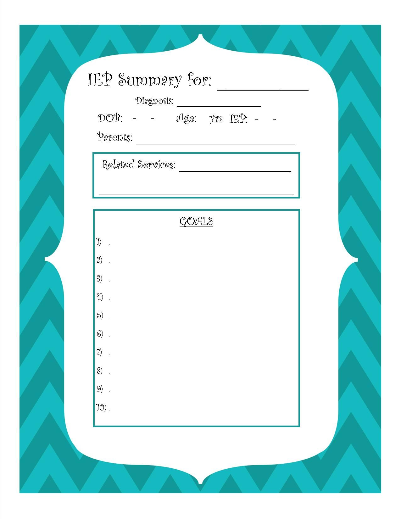 Easy And Simple Free Printable Iep Summary Sheet For Ecse