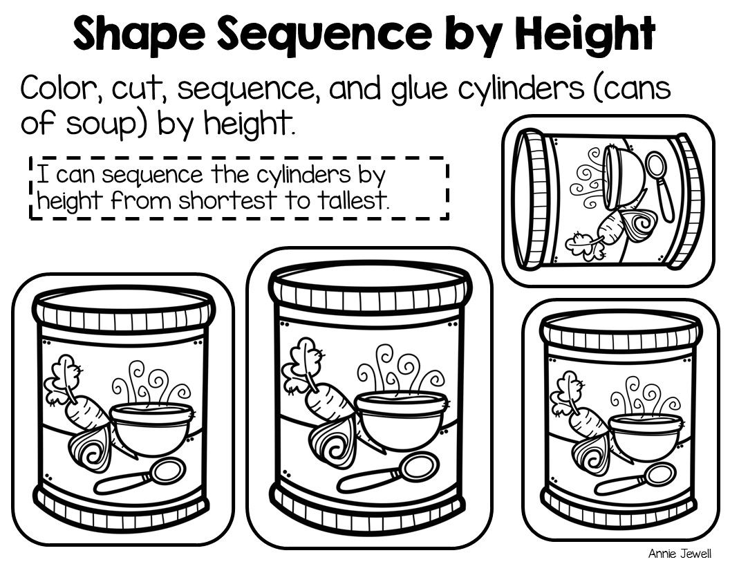 Sequence by Size: 3-Dimensional Shapes 8 Cut and Glue