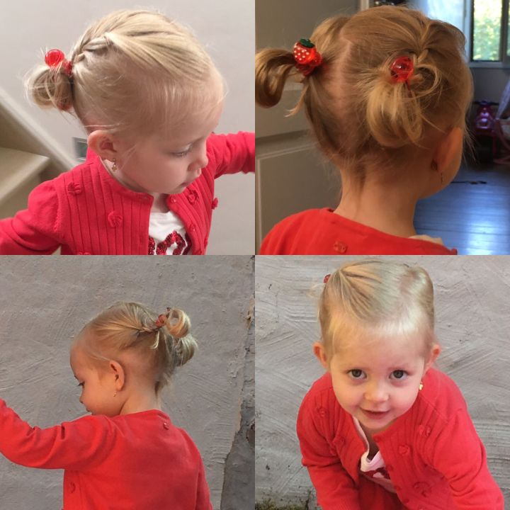 Two buns two braids kids summer hair blond girl hairstyle for