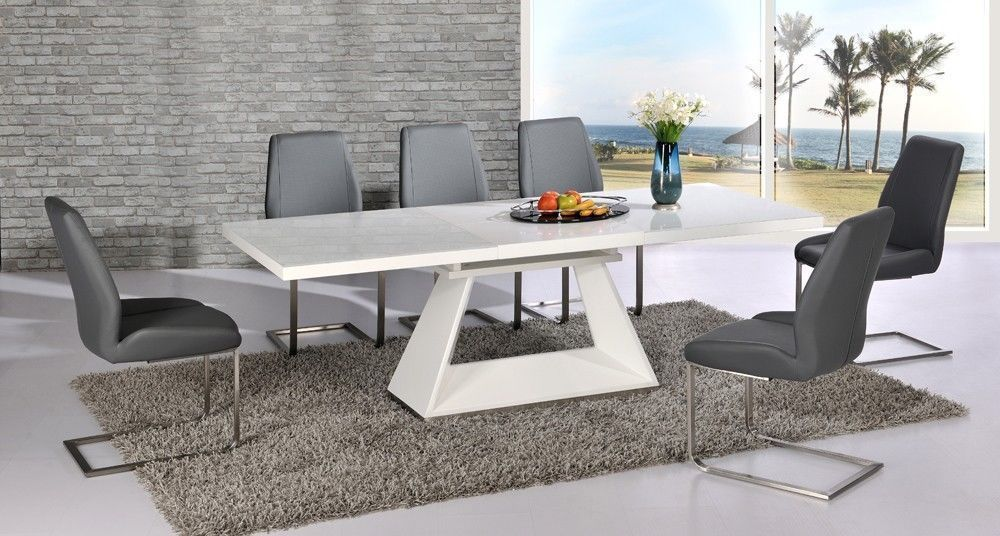 White High Gloss Extending Dining Table And 8 Grey Chairs
