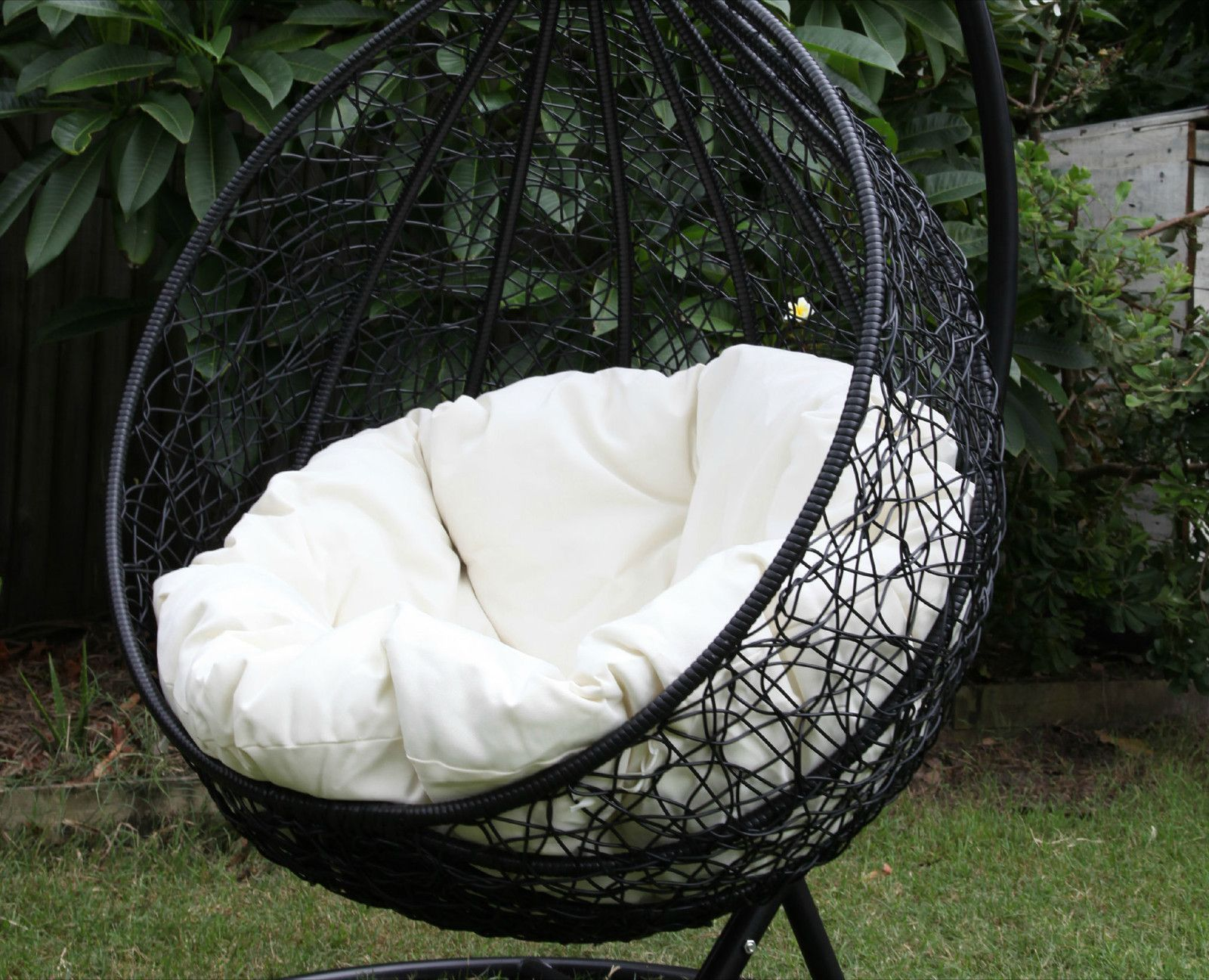 Egg Chair Indoor Skycarte Black Hanging Egg Chair With White Plush Cushion