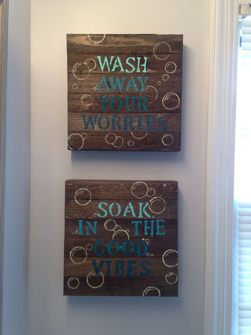 Blue diy bathroom wall decor wood canvas from walmart stencils acrylic  also best projects images on pinterest rh