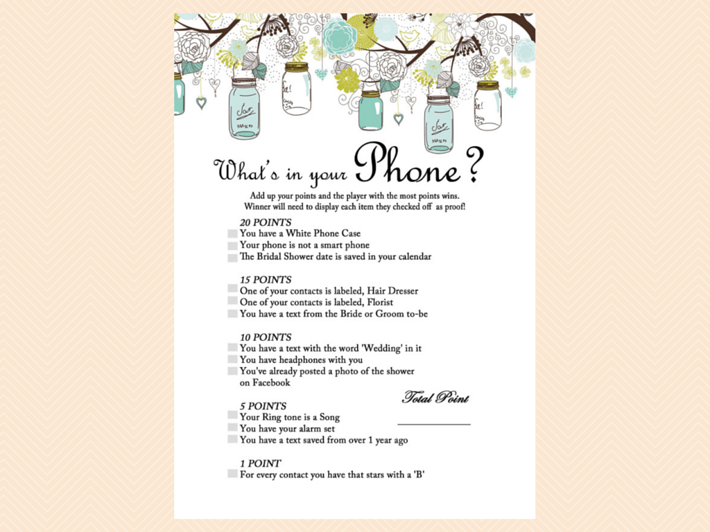 Whats In Your Phone Purse Game Cellphone Phone Game Mason Jars Bridal Shower Game Printables