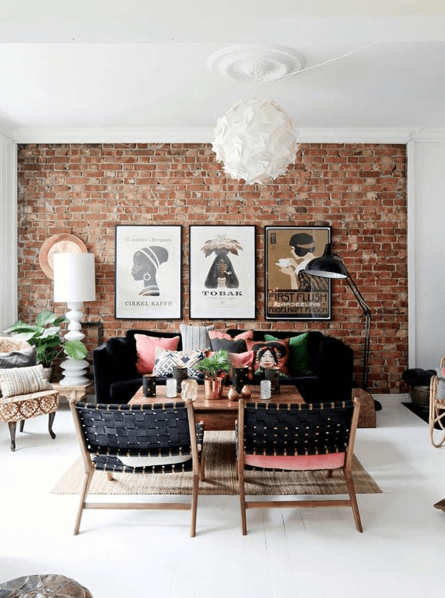 Couch on the wall with one window chairs their back to dining room also how hang art exposed brick walls bohemian bricks and rh pinterest