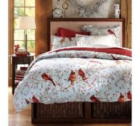 Cheerful Snow Bed Cover and Cardinal Bird Bedding Theme ...