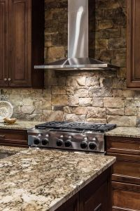 stacked stone kitchen backsplash contemporary kitchen ...