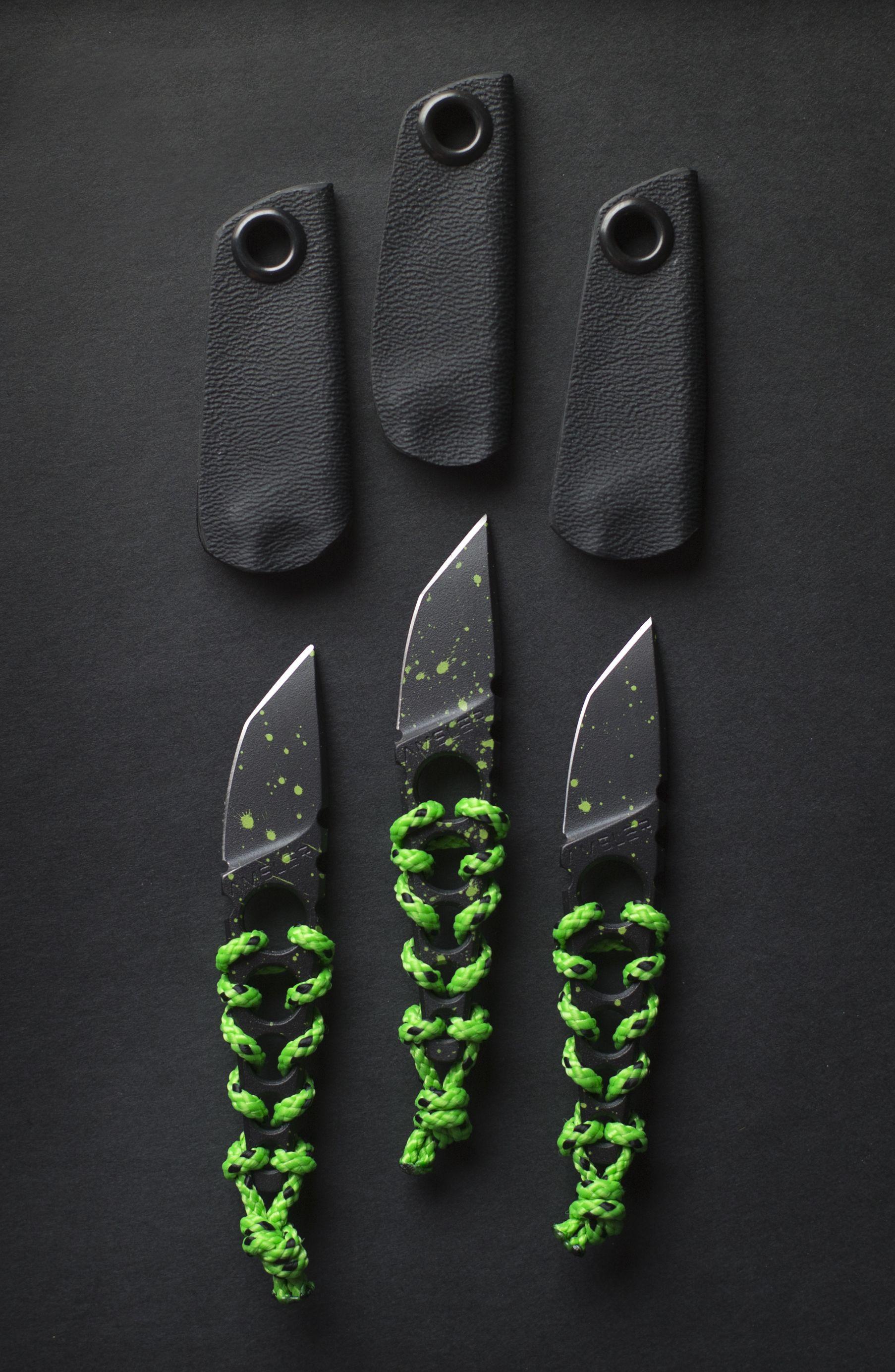 amsler knives kiri key black with green splash cerakote