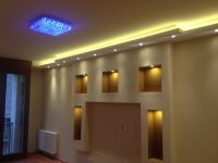 Drywall built-in media wall with hidden lights by www ...