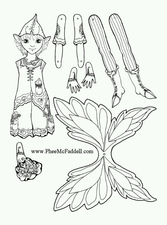 Phee McFaddell Artist one of her puppets free coloring