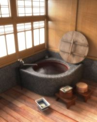 Traditional Japanese round bath with washing benches and ...