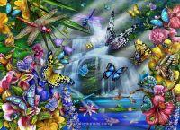 butterfly garden mural   Butterfly Waterfall Wall Mural ...
