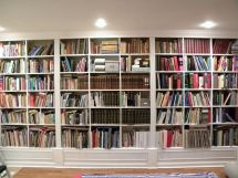 Gorgeous White Wooden Built In Large Bookshelf Ideas