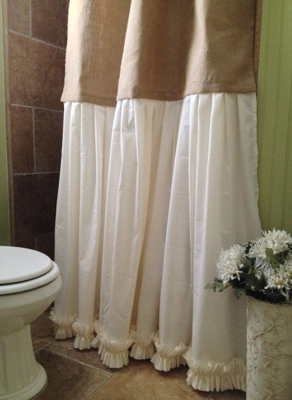 Burlap Shower Curtain Shabby Chic Burlap & By SimplyFrenchMarket