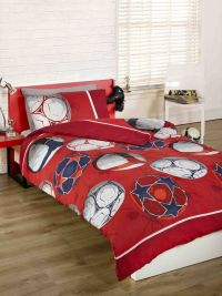 Childrens Boys Red Football Soccer Double Duvet Quilt
