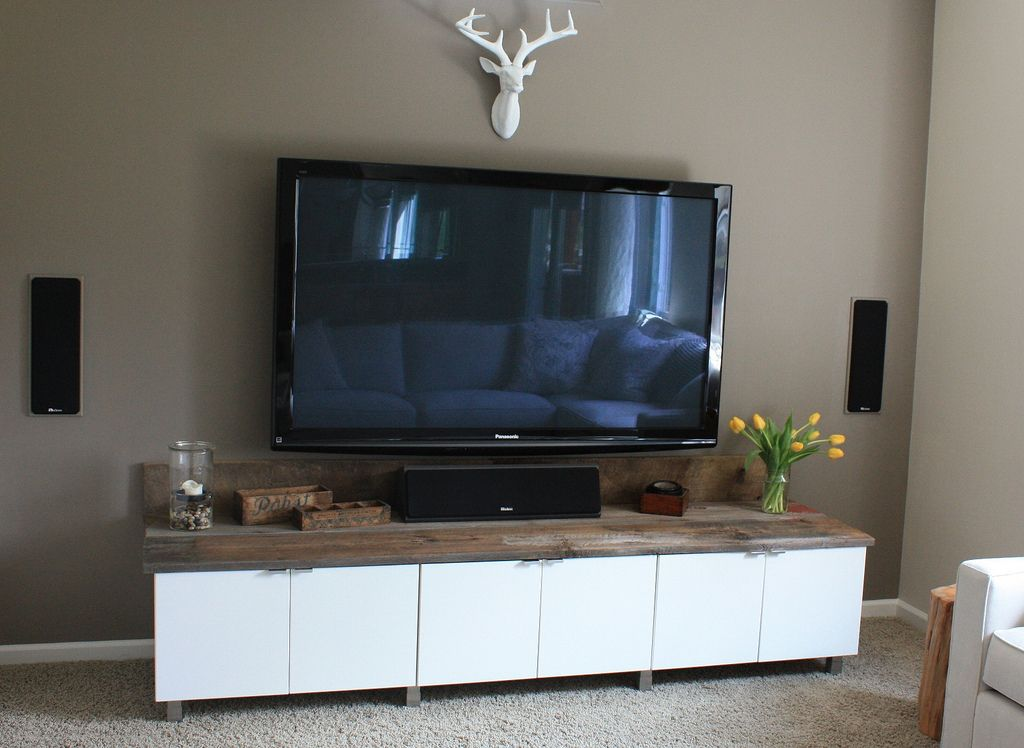 DIY  entertainment center using ikea cabinets  Home