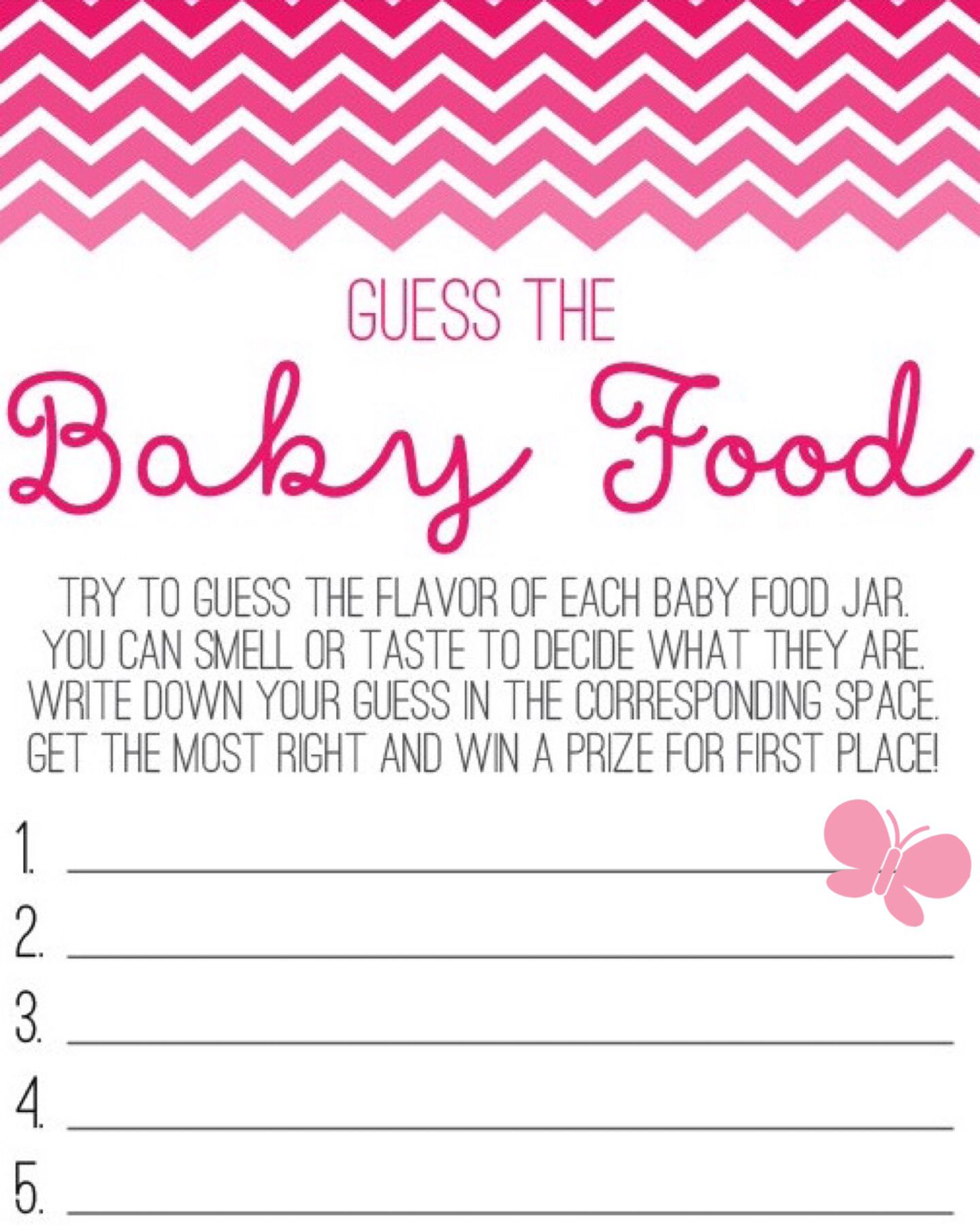 Guess The Baby Food Game Printable Free