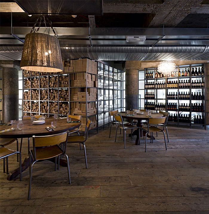 wine bar with industrial look decor   stools sit