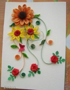 Quilling card also hojas con colores pinterest paper rh