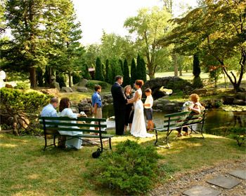 Small garden wedding ceremonies in Canandaigua NY at Sonnenberg Gardens  Mansion  Wedding