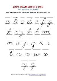 Kids Cursive Handwriting Worksheets A | handwriting ...