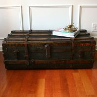 Antique Steamer Trunk. Coffee Table. Flat Top. Low Profile ...
