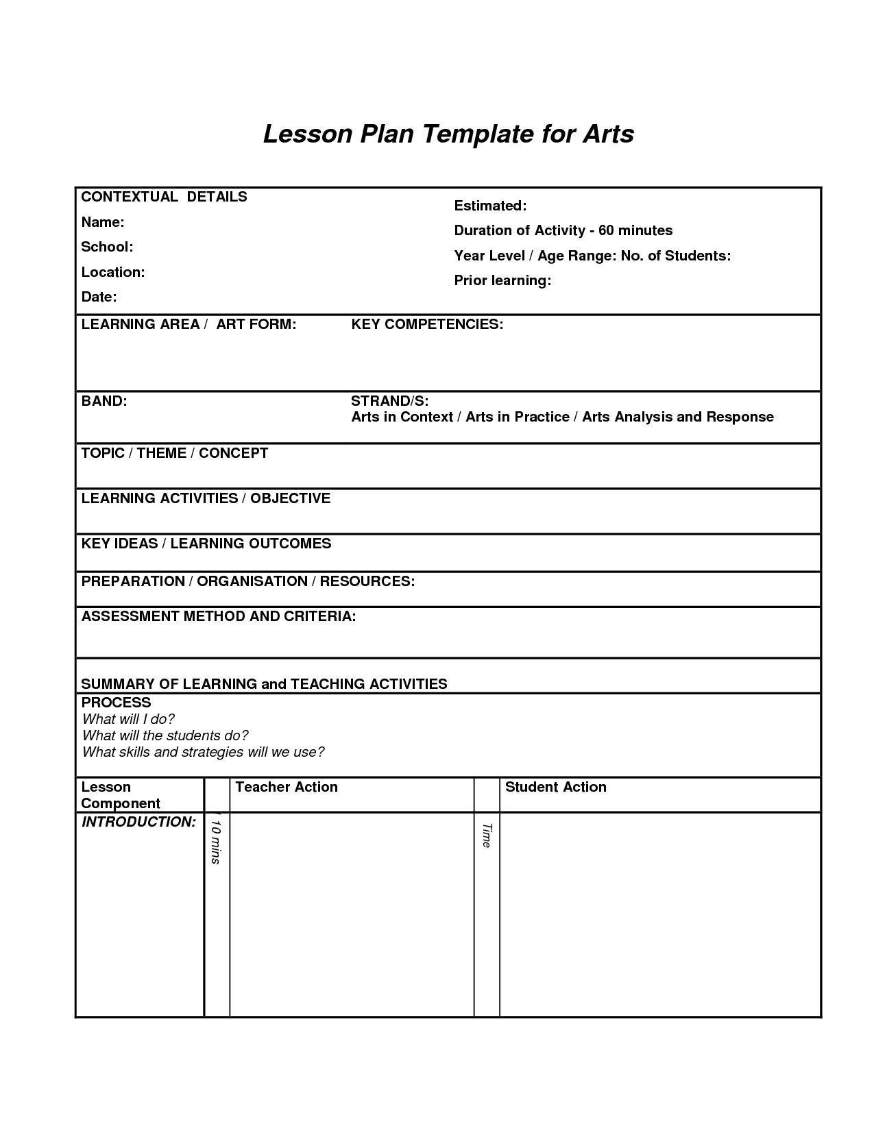 Lesson Plan Template For Arts